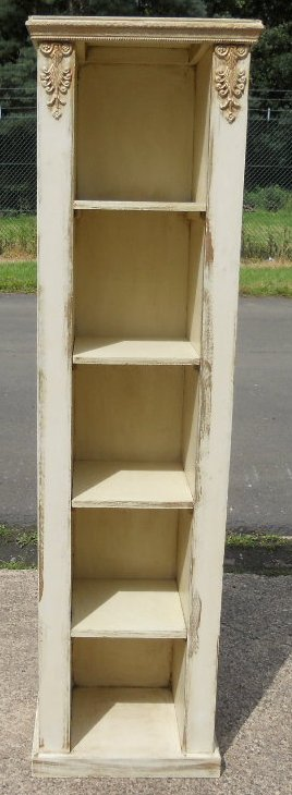 Narrow Painted Decorated Tall Open Bookcase Shelves  : narrow painted decorated tall open bookcase shelves cabinet sold 5 2671 p from www.harrisonantiquefurniture.co.uk size 268 x 730 jpeg 98kB